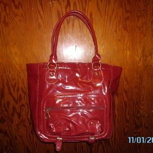 Red Shiny, Large Tote - new